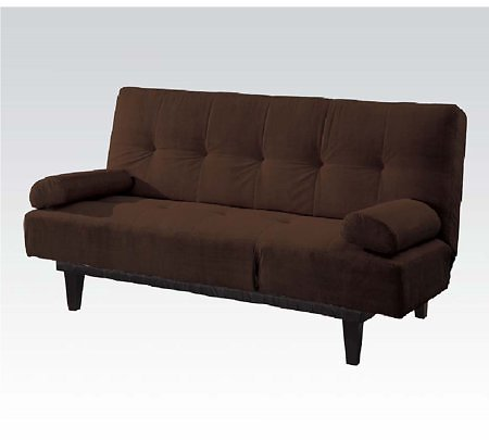 Barcelona Convertible Futon Sofa Bed and Lounger with Pillows, Brown