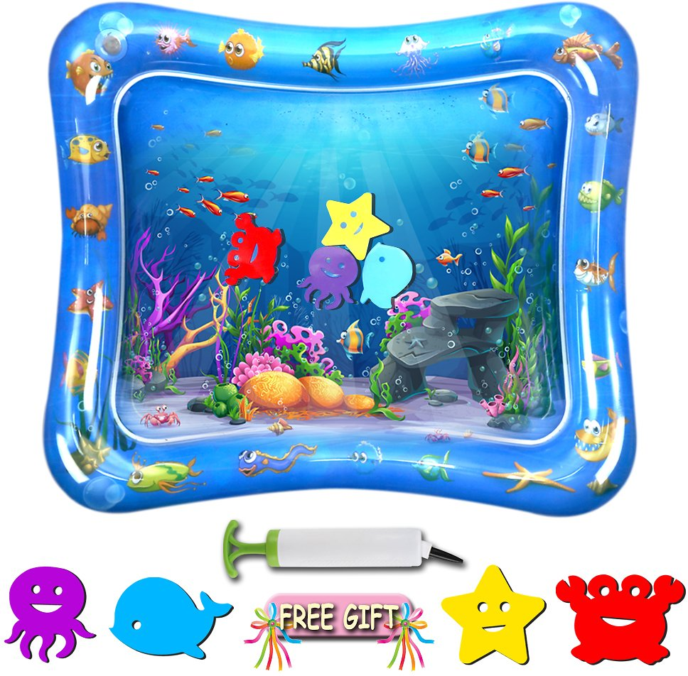 Baby Toys Tummy Time Mat - TFS Inflatable Water Play Mat for Infants & Newborns Toy, Activity Center Sensory Development Toys