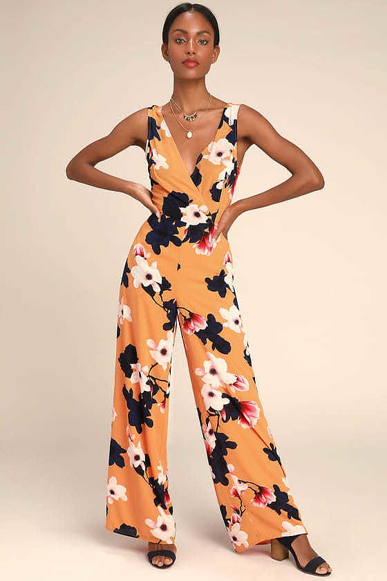 Heart Abloom Orange Floral Print Tie-Back Wide-Leg Jumpsuit