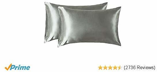 Bedsure Standard Size Satin Pillowcase for Hair and Skin Grey Pillow Case Set of 2