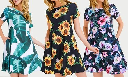 Style Clad Women's Printed Flare Dress with Pockets. Plus Sizes Available.