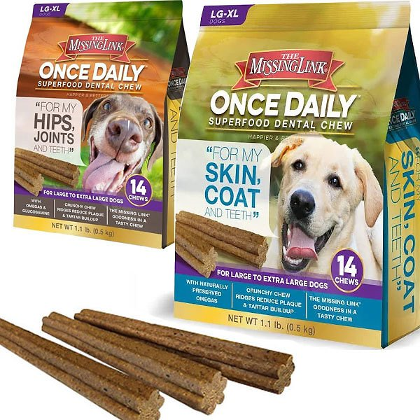 FLASH SALE - THREE Bags of The Missing Link Once Daily Superfood Dental Chew -Choose Hips & Joints or Skin and Coat! Available for Large Dogs or Small/Medium Dogs! Treat Your Dog and Help Their Health At The Same Time! Currently $12 - $25 PER BAG On A
