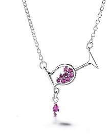 Amethyst & Sterling Silver Rosé Wine Glass Pendant Necklace By DreamGem