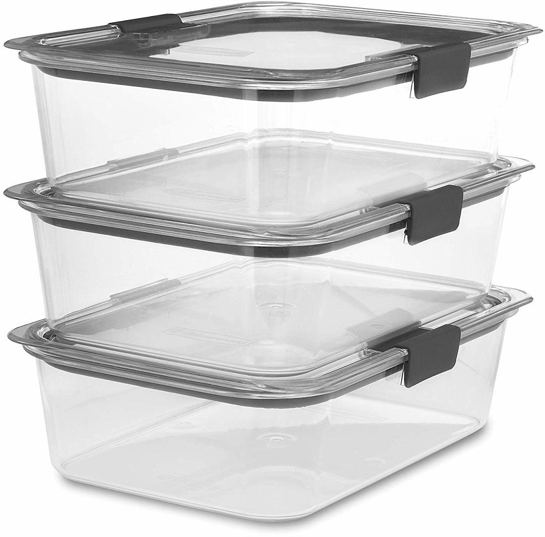 Rubbermaid Brilliance Food Storage Container, Large, 9.6 Cup, Clear, 3-Pack