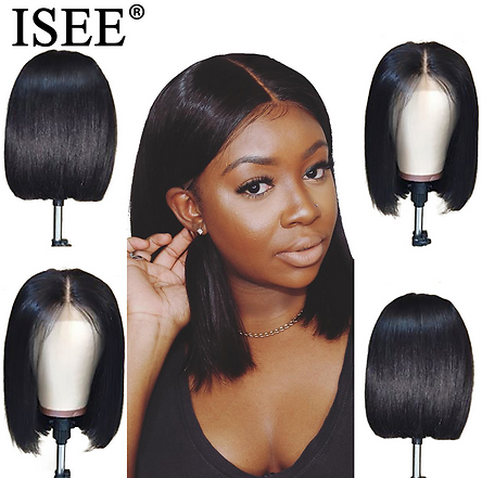 Straight Short Human Hair Wigs 150% Density 13X4 Straight Bob Lace Front Wigs ISEE HAIR Malaysian Lace Front Human Hair Wigs