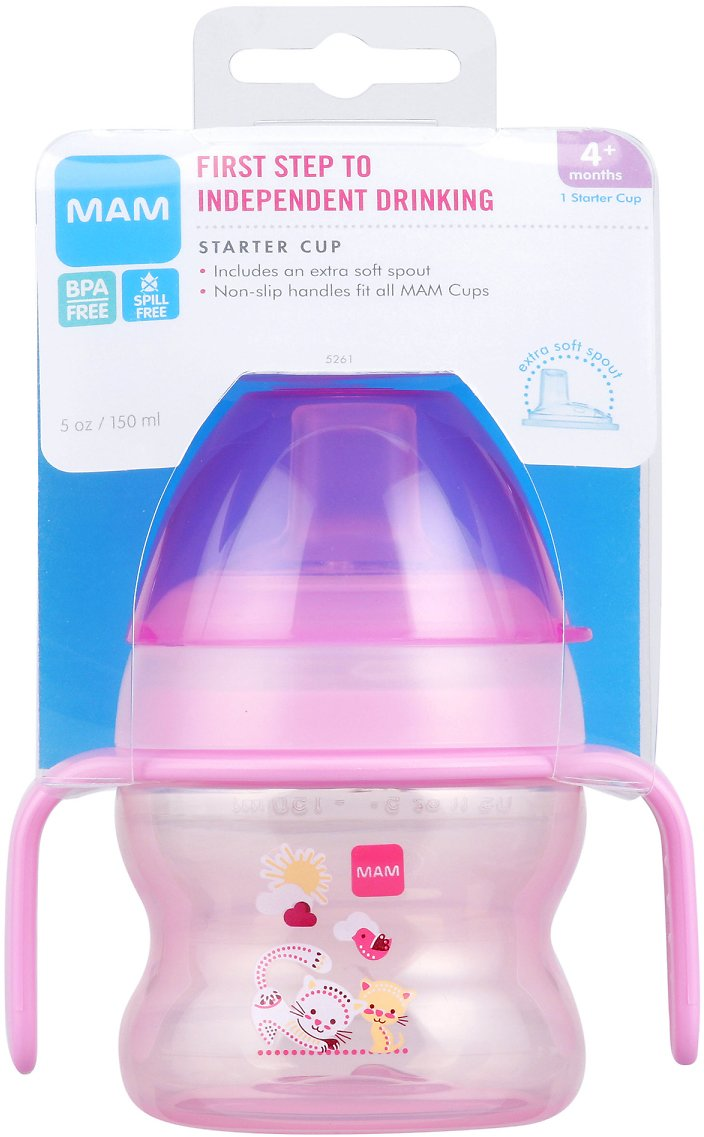 MAM Starter Cup, Starter Cups for Babies with Handles, Girl, 5 Ounces