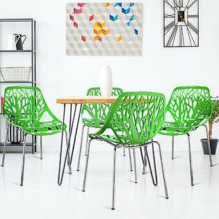 Costway Set of 4 Dining Chair Birch Sapling Accent Armless Side Chairs Stackable Green