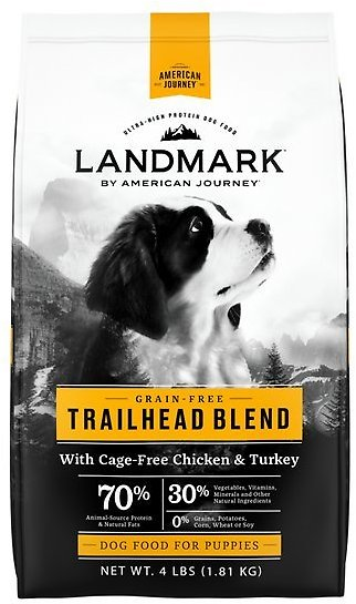 American Journey Landmark Trailhead Blend with Cage-Free Chicken & Turkey Grain-Free Puppy Dry Dog Food, 4-lb Bag - Chewy.com