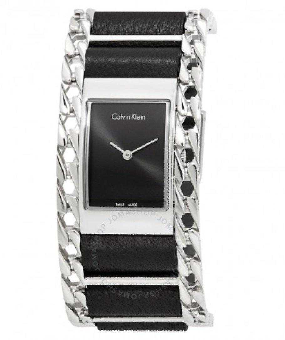 Calvin Klein Impeccable Black Dial Ladies Learher and Steel Watch K4R231C1