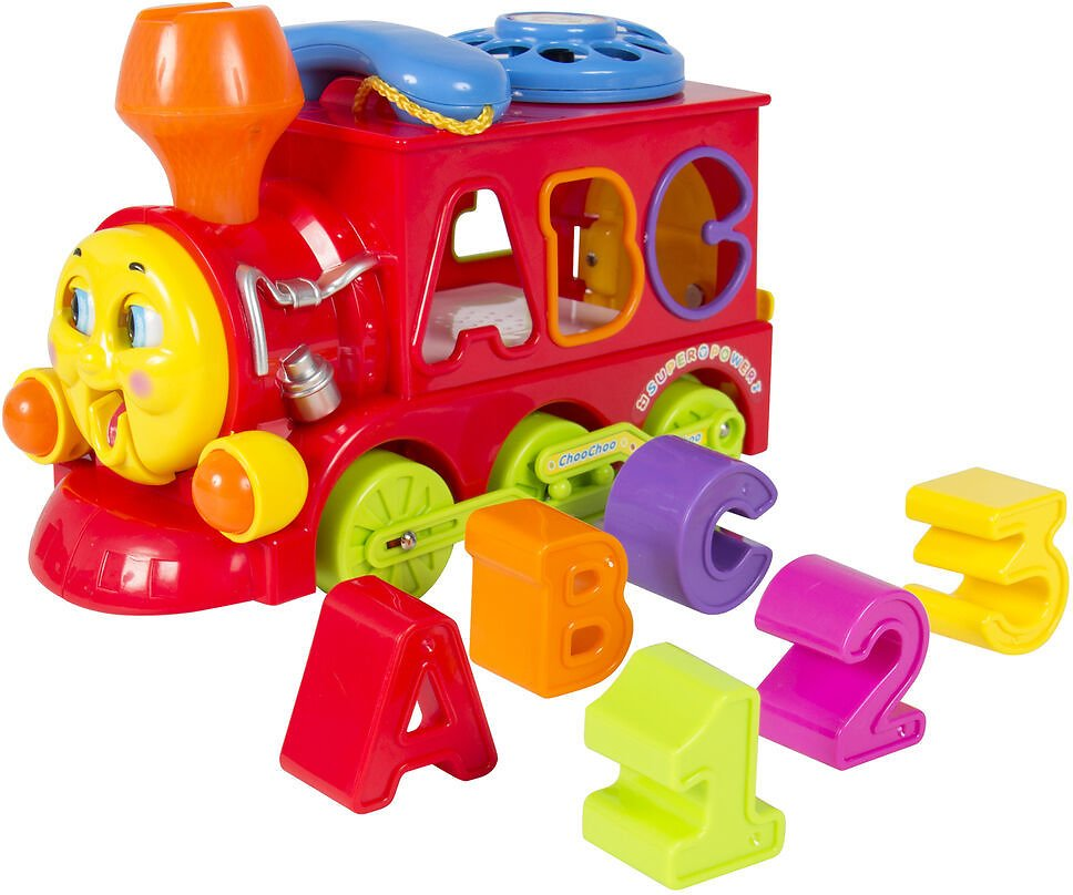 (Ships Free) Bump and Go Action Learning Train Lights and Music Block Letters Shape Sorter
