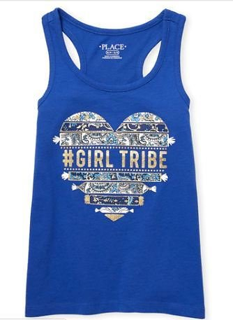 Girls Matchables Glitter Graphic Racerback Tank Top