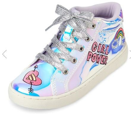 Girls Patch Holographic Hi Top Sneakers