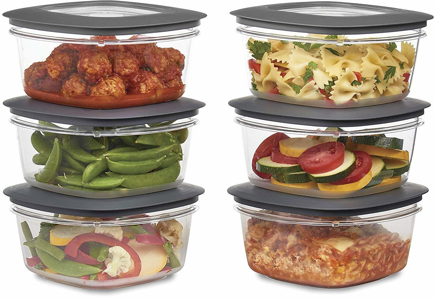 Rubbermaid Premier Food Storage Container, 5 Cup, 6-Pack, Grey