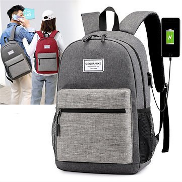 Oxford Cloth Laptop Bag Backpack Travel Bag With External USB Charging