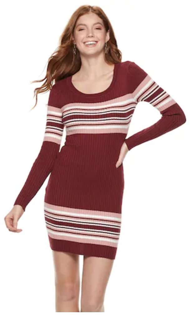 Juniors' Almost Famous Striped Ribbed Mini Dress (2 Colors)