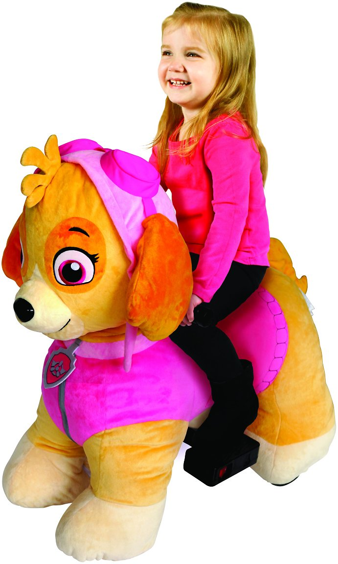 Paw Patrol 6 Volt Plush Skye Ride-on with Pup House Included by Dynacraft (2 Characters)