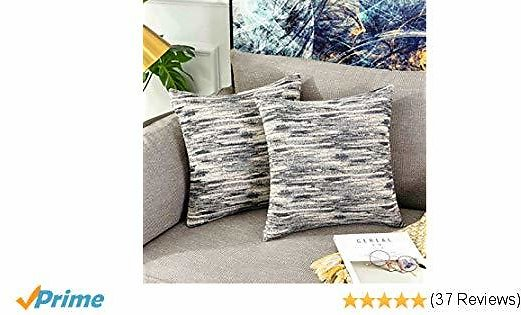 HOME BRILLIANT Decorative Pillows Cover 18x18 Abstract Textured Accent Pillowcases Gray Cushion Covers for Sofa, 45 X 45 Cm, 2 Pack, Grey