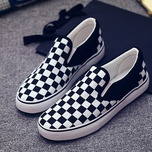 Checkerboard Men And Women Canvas Shoes Fashion Lazy Shoes Casual Shoes Plus Size35-44