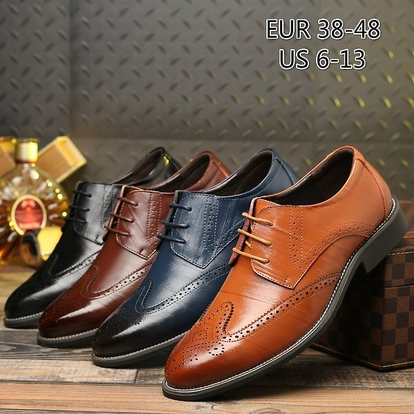 Men Fashion Leather Pointed Toe Shoes Fashion Business Oxford Shoes Casual Wedding Lace Up Dress Bullock Shoes