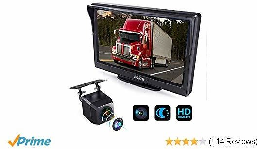 Aokur Backup Camera with HD ISP Monitor, Wide Waterproof Starlight Night Vision 7'' Camera for Car/Trucks/Camper License Plate Reverse Parking Assistance