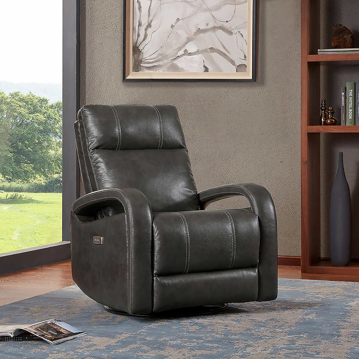 Reilly Gray Leather Power Recliner