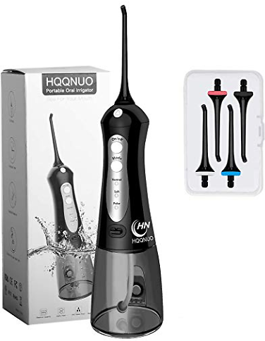 Cordless Water Flosser Teeth Cleaner, Portable Oral Irrigator Dental Flosser (300ML Water Tank with 4 Jet Tips), Quiet IPX7 Wate