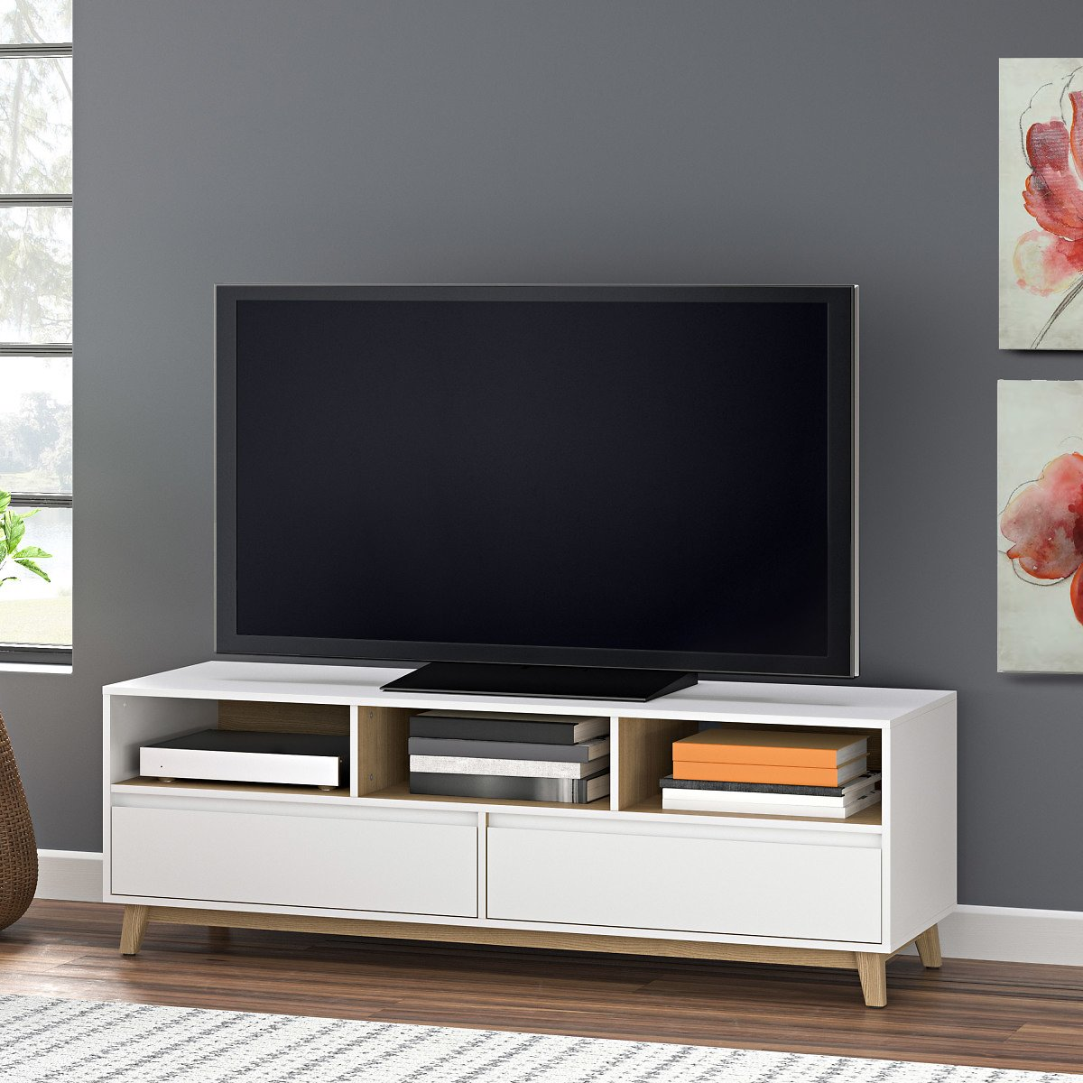 Mainstays Mid-Century TV Stand, White Finish for TVs Up to 70
