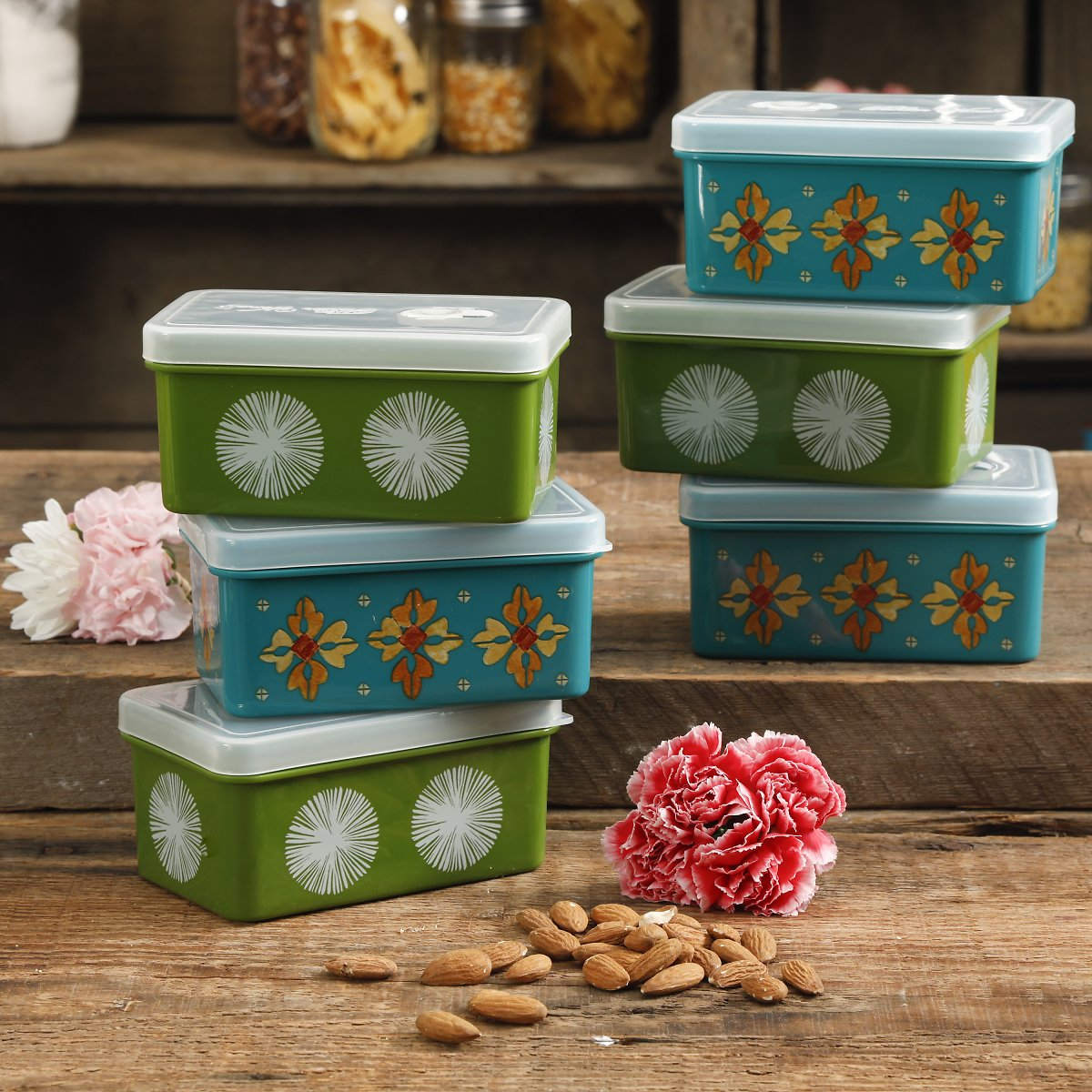 The Pioneer Woman 17oz Assorted Containers, Set of 6