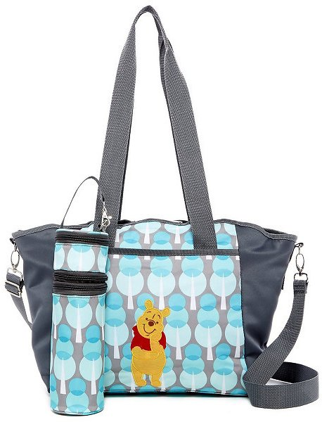 Disney Baby 5-In-1 Diaper Bag With Changing Pad, Bottle Holder