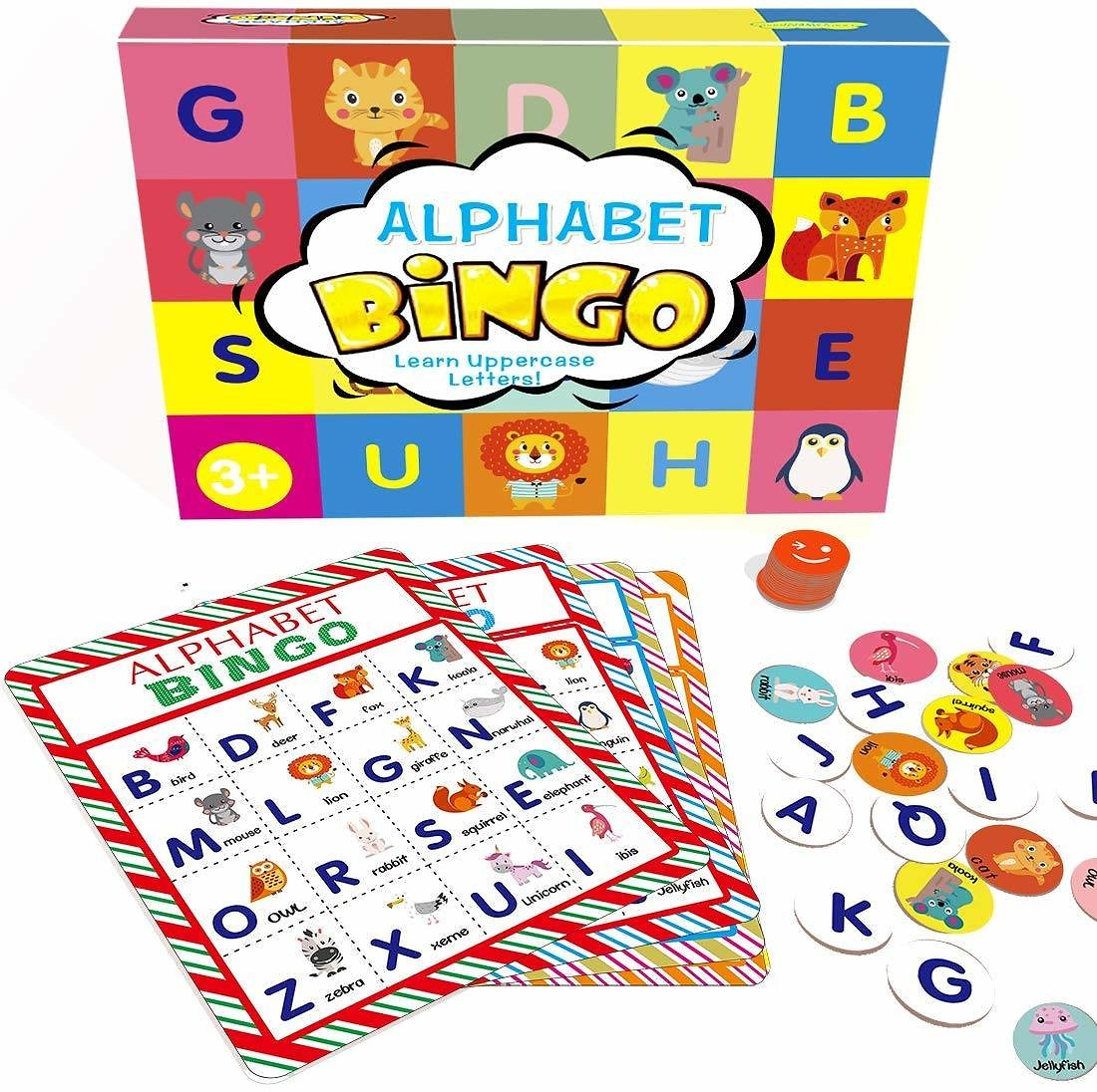 Alphabet Learning Bingo Cards Game for Kids - Up to 8 Players