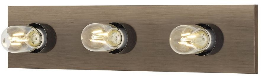 Center Stage 18 In. 3-Light Distressed Oak Hollywood Vanity Light with Weathered Gray Light Bulb Sleeves