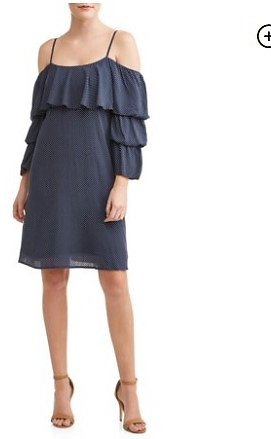 LOVE SADIE - Women's Off The Shoulder Ruffle Sleeve Dress