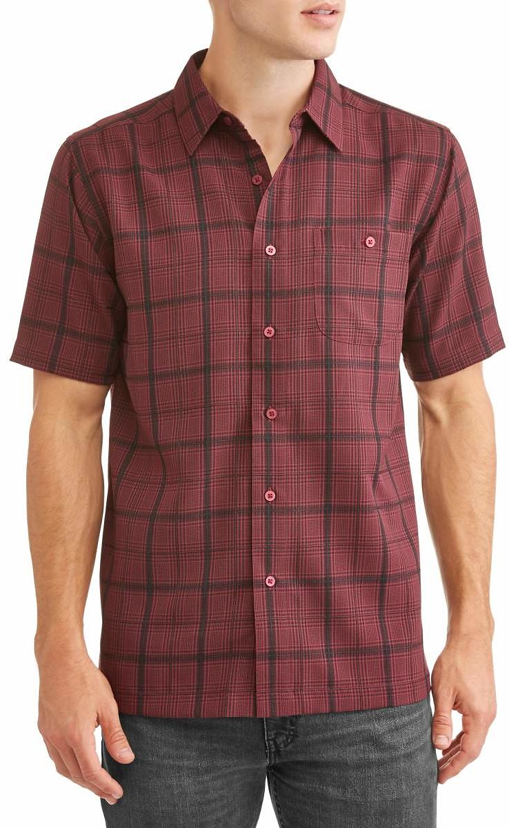 George - Men's and Big Men's Short Sleeve Microfiber Shirt, Up to Size 5XL