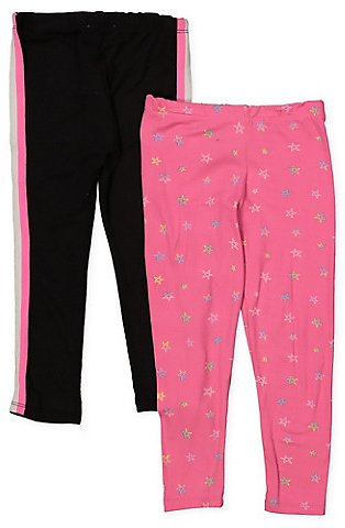 Girls 4-6x Set of 2 Solid and Star Print Leggings
