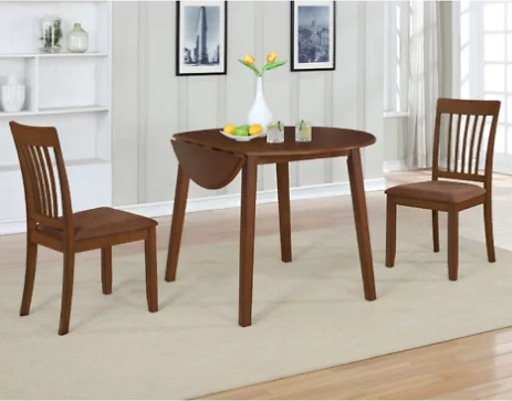 (Ships Free) Innes 3 Piece Drop Leaf Solid Wood Dining Set