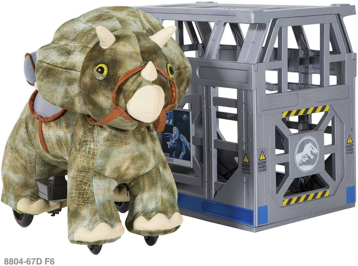 (Ships Free) 6 Volt Jurassic World Triceratops Plush Ride-On