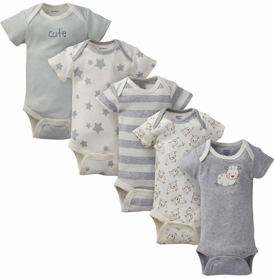 Gerber - Organic Cotton Short Sleeve Onesies Bodysuits, 5 Pack (Baby Boy or Baby Girl Unisex)