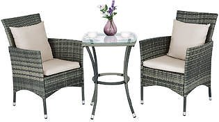 Gymax Gymax 3PCS Patio Furniture Set Rattan Coffee Table & Chairs Garden