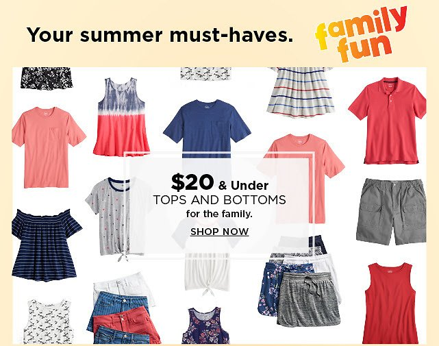 $20 & Under Tops & Bottoms for the Family + Extra 20% Off | Kohl's
