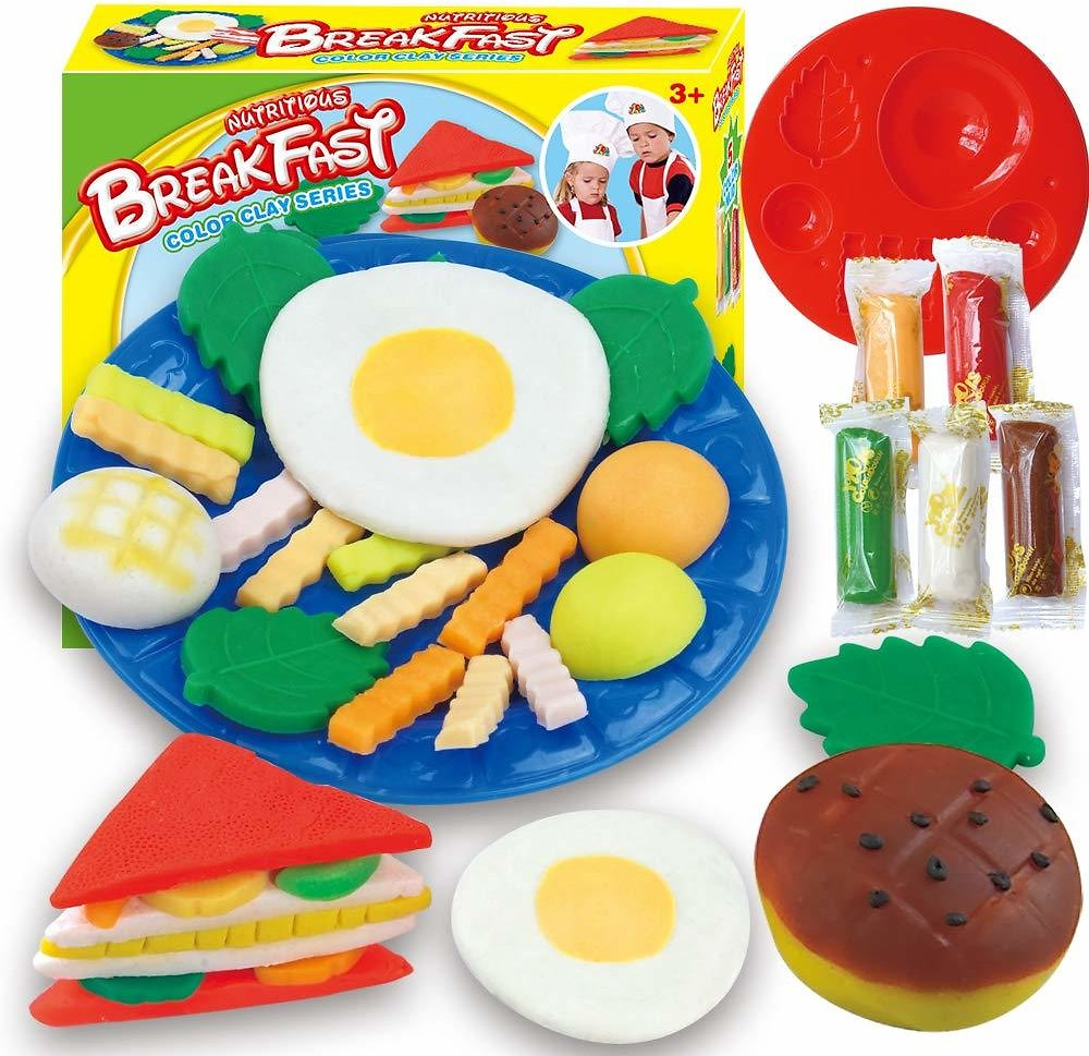 Fantarea Colour Dough Toys Color Clay Plasticine Color Dough Breakfast Sandwich Model Pretend Play Set Tool Accessories Mould Play Playset Education Toys Clay Toys for Kid Girls Boys 5 6 7 8 Years Old