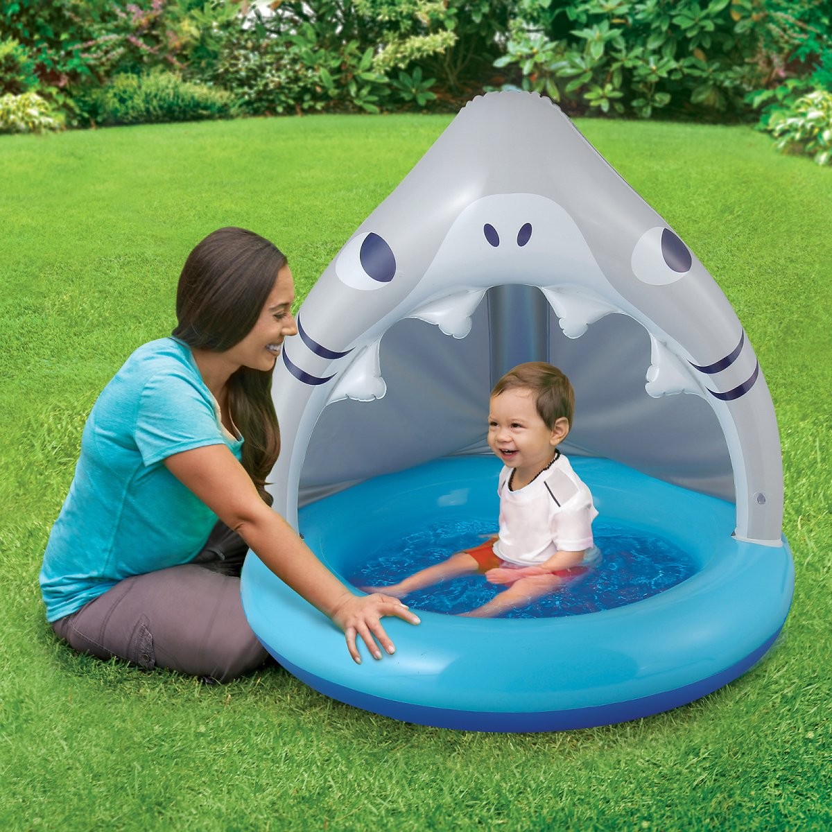Summer Waves Round Inflatable Baby Shark Shade Pool