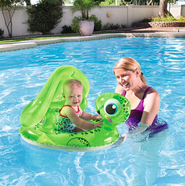 Price Drop! H2OGO Floating Turtle Baby Care Seat Pool Float