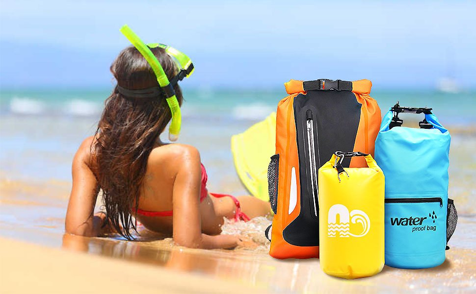 A+case Dry Bag Waterproof Backpack Floating 10L/20L/25L/30L Roll Top for Kayaking, Beach, Rafting, Swimming, Boating, Hiking, Camping, Canoeing ... (Orange, 20L-with Bottle Holder) : Gateway