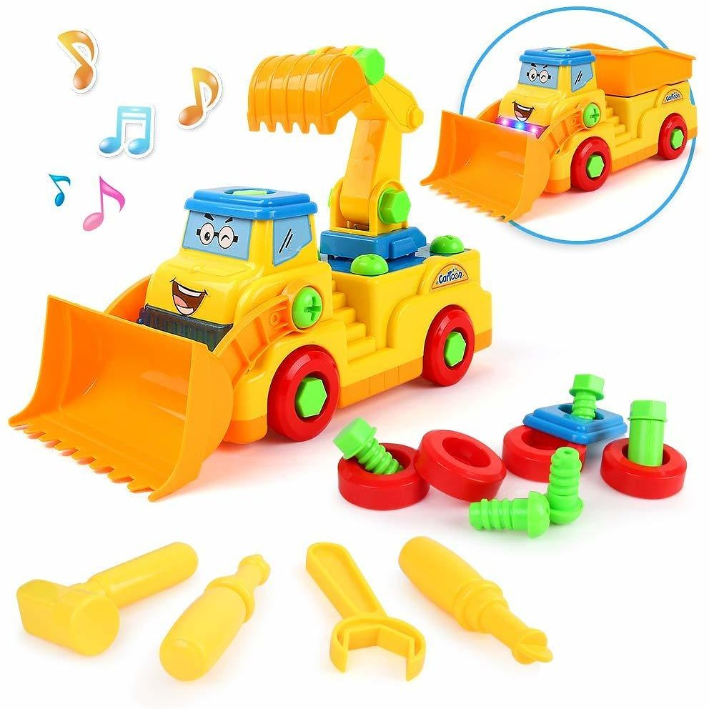 Beebeerun 2-in-1 Take Apart Construction Trucks Toys with Sounds and Lights,Stem Early Development Car Toys,Assemble Toy Bulldozer Trucks for 2 3 4 5 6 7 Years Old Boys and Girls