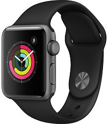 Apple 38mm Series 3 GPS Smart Watch with Space Gray Aluminum Case - Black