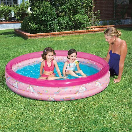Play Day 3-Ring Inflatable Play Kids Swimming Pool, Pink