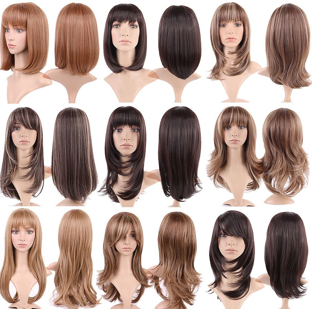 4inch-26inch Synthetic Wigs For African American Black Women Long Brown Mixed Two Tone Wigs With Bangs
