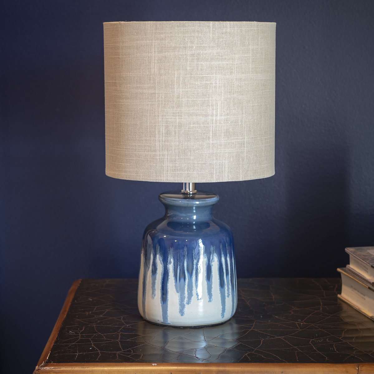 Better Homes and Gardens Ceramic Ombre Drip Table Lamp / Blue