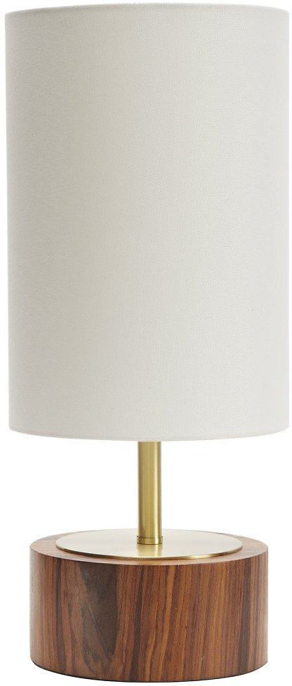 Better Homes & Gardens Woodgrain Touch Table Lamp, Walnut and Brushed Brass Finish