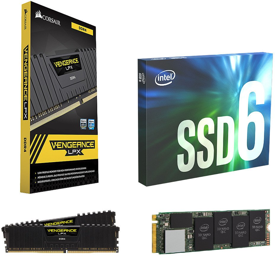 Intel 660p Series M.2 512GB SSD + CORSAIR Vengeance LPX 16GB DDR4 Desktop Memory $113.99